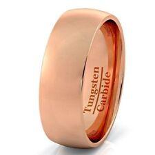Wedding Band Tungsten Carbide New* Rose Gold Tungsten Ring Dome
