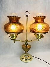 Vintage Double Hurricane Table Lamp Student Amber Glass Shade Hobnob Brass