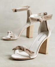 NIB Jeffrey Campbell tan Velvet Bow Ankle Strap Heel Sandal 8.5