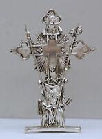 Reliquiario in metallo argentato antichizzato volto di Gesù h cm 37