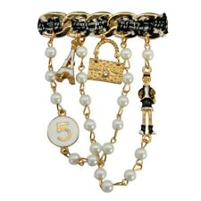 ZARD Designer Inspired N5 Pin Brooch in Gold-Tone Tweed Tassel Pearl Charms