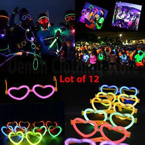 12 pc Heart Glow Eyeglasses Dark Light Up Glasses Party Favors Birthday Holiday