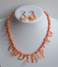 SET VINTAGE EARRINGS ANGEL SKIN CORAL NECKLACE TWIGS LONG 20 GR 16''