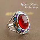 18K White Gold Plated Simulated Crystal Oval Vintage Ruby Ring Fashion Jewellery