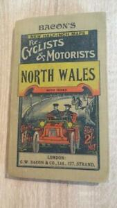 """c1900 """"BACON'S CYCLING & MOTORISTS MAP OF NORTH WALES""""  LINEN"""