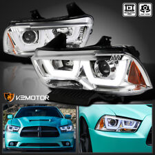 2011-2014 Dodge Charger Chrome Dual Halo LED DRL Strip Projector Headlights