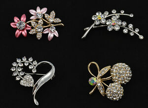 Crystal Floral Heart Fruit Pink Silver Gold Brooch & Pin