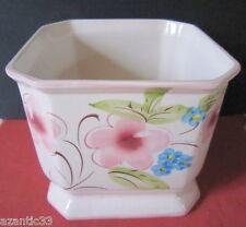 cache pot faience décor fleurs flowers pot