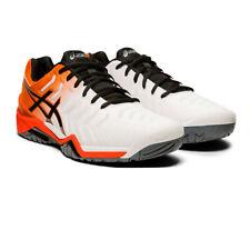 Asics Hommes Gel Resolution 7 Tennis Chaussures De Sport Baskets Orange Blanc