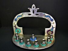 Beautiful Art Jewelry Menorah, Holds 9 Candles, Hand Painted w/Crystals, Signed