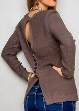 SEXY Miss Damen Pulli Glitzer Lurex Strick Pullover Rücken Knöpfe 34/36/38 braun