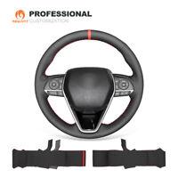 DIY Black Genuine Leather Car Steering Wheel Cover for Toyota Camry Corolla RAV4