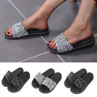 Women Slide Slip On Sandals Rhinestone Glitter Summer Beach Mules  Slipper Shoes