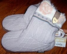 NWT Muk Luks ARDEN Light Purple Cable Fleece-Lined Slipper Boots S 5/6 HEART
