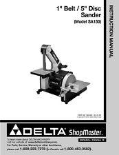 """Delta Shopmaster SA150 1"""" Belt 5"""" Disc Sander Instruction Manual"""