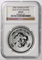 2000 Australia Year of the Dragon Silver Dollar $1, NGC MS69 Lunar Series