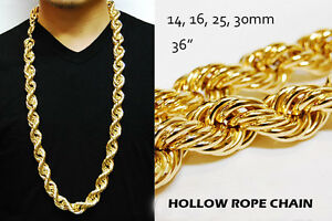 HIP HOP RUN DMC 16 & 25 & 30mm HOLLOW GOLD PT THICK ROPE NECKLACE DOOKIE CHAIN