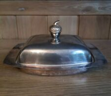 Vintage Silver Plated Butter Dish With Original Glass Insert Acorn Top