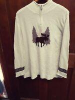 CJ Banks Shimmer Sweater White Ivory Moose Animal Plus Sz 3X Snowflake Zip Neck