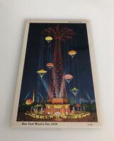 New York World's Fair 1939 Postcard Linen Unused PARACHUTE JUMP