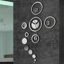 Fashion Circles Acrylic Mirror Wall Clock Decal Sticker Decoration Ornament