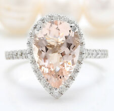 4.08CTW Natural Morganite and Diamond in 14K Solid White Gold Women Ring
