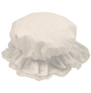 Girls Children Tudor Victorian White  Mop Hat Fancy Dress Costume P&P