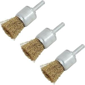 Neilsen 3pc 25mm Rotary Brass Steel Wire Brush Crimp Cup Set wheel For Drill