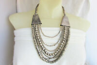 Runway Bib Necklace Handmade Metal Beads Chains Bohemian Statement