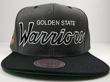 Golden State Warriors Mitchell & Ness Charcoal Vintage Script Snapback Hat NBA