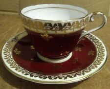 Beautiful Vintage Aynsley Cup And Saucer C880 in Red with Gold Pattern