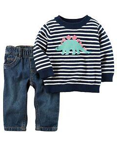 Carter's Infant Boys Little Sweater & Denim Pant Set - Dinosaur NWT jeans