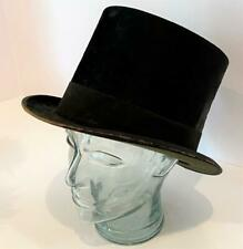 "Dunlap Antique Black Beaver Silk Top Hat 1890 Victorian 22"" 7-1/4 Air Hole PROP"