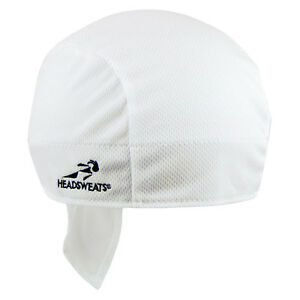 SHORTY HEADSWEATS COOLMAX BICYCLE CYCLING CAP HAT HEADBAND BANDANA NEW WHITE