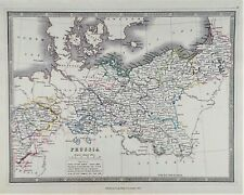 OLD ANTIQUE MAP NEW PRUSSIA GERMANY c1852 by GEORGE PHILIP ORIGINAL HAND COLOUR