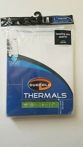 Duofold Thermals Mid White YOUTH L BOTTOMs Insulated Under layer Pants 26 27 28