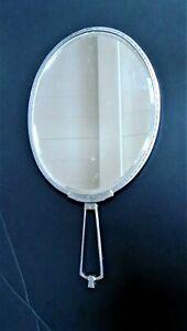 Original Art Deco hand mirror, oval chrome frame, bevel edge, heavy