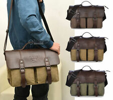 Men's Canvas Military Briefcase Handbag Satchel Shoulder 14 Laptop Messenger Bag