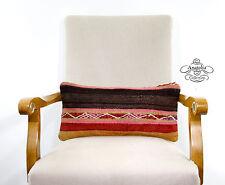 "Bohemian Chic Pillow 10x20"" Lumbar Kilim Rug Cushion Handwoven Ethnic Pillowcase"