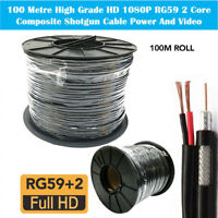 100M RG59 +2 Shotgun 2 Core CCTV Video and Power Cable Reel Black DVR Video Coax