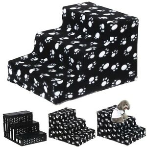 Black 3 Steps Dog Stairs for High Bed Pet Ramp Ladder Animal Cats Dogs Easy Step