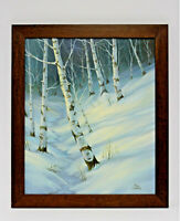 Snow Winter Forest Trees 20 x 24 Art Oil Painting on Canvas w/ Smooth Wood Frame