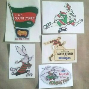 5 x THE RABBITS Decal Sticker SOUTH SYDNEY PETROL OIL nrl RABBITOHS rugby league