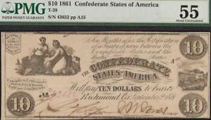 1861 $10 DOLLAR BILL CONFEDERATE STATES CURRENCY CIVIL WAR NOTE T-28 PMG 55
