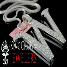 Real 14k White Gold On Silver Micro Pave Simu Diamond Initials Letter W Pendant