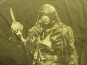 Assassin's Creed Unity T-Shirt 2014 Size Small Grey & Red on Black