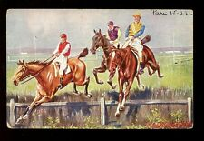 Sport Horse Racing STEEPLECHASING The Last Hedge Tuck Oilette PPC #6163 1932