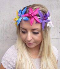 Groß Rosa Blau Orchidee Blume Blumengewinde Haar-krone Fest Hawaii 3017