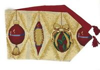 DaDa Bedding Christmas Golden Ornament Table Runners, Festive Woven Tapestry