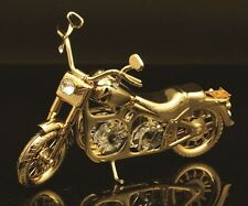 24K GOLD PLATED HARLEY ORNAMENT FIGURINE STUD W/ SWAROVSKI CRYSTAL ELEMENTS